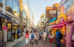 Crowded Takeshita shopping street in Harajuku fashion district. Tokyo, Japan,